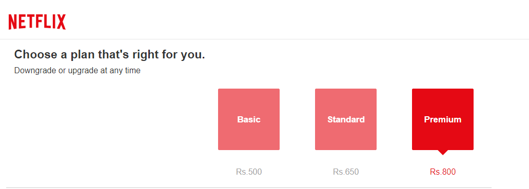 How much is the Netflix subscription fee in India