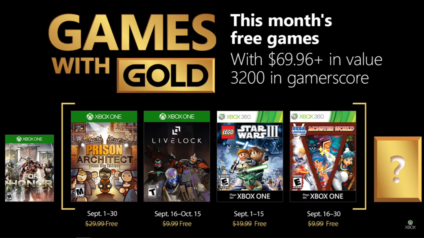 4 Free Xbox Games with Gold for September 2018