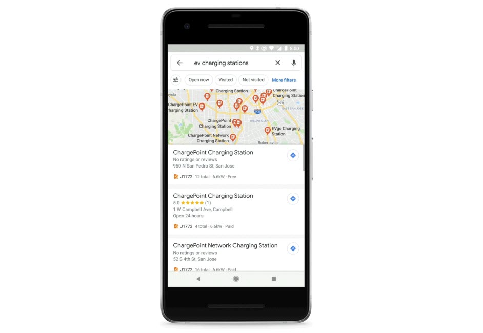 Google Maps now lets you share live location and find EV charging stations