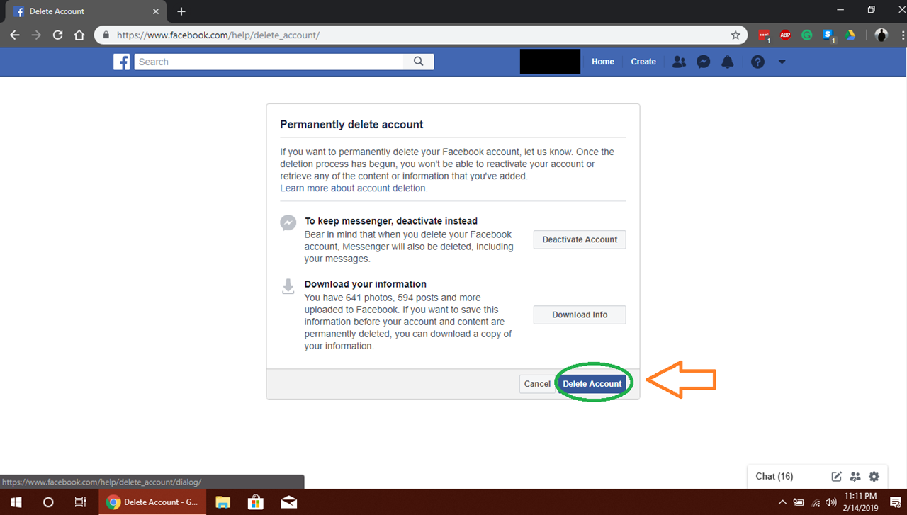"""To delete your Facebook go to Settings> Your account information and select the """"View"""" option next to the Delete your account and information section."""