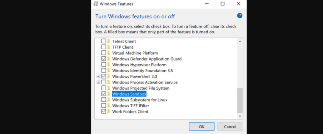 What is Windows 10's Sandbox feature and what does it do?