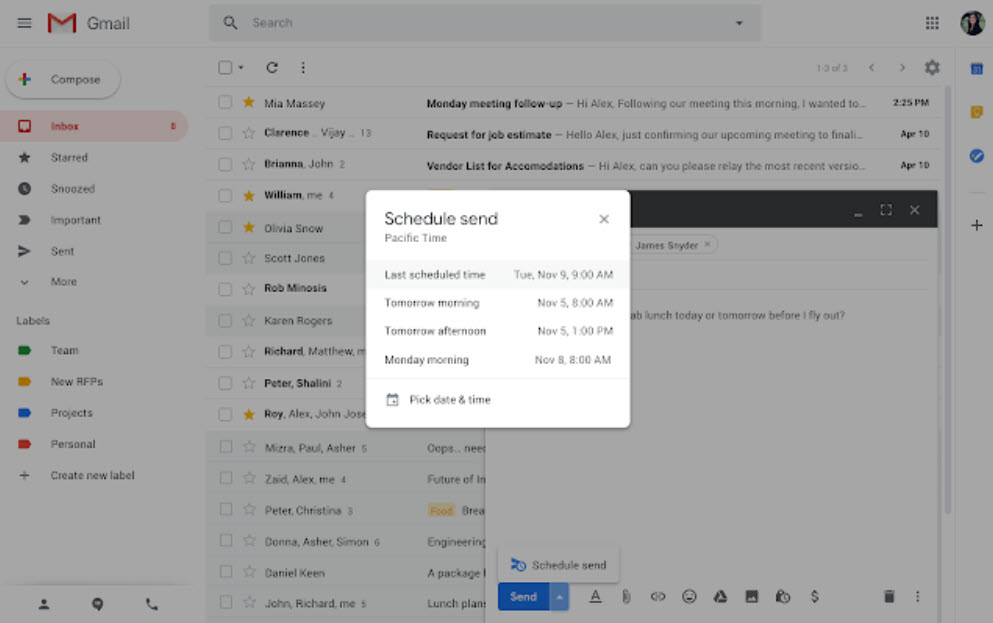 How to schedule emails on Gmail and smart composer update