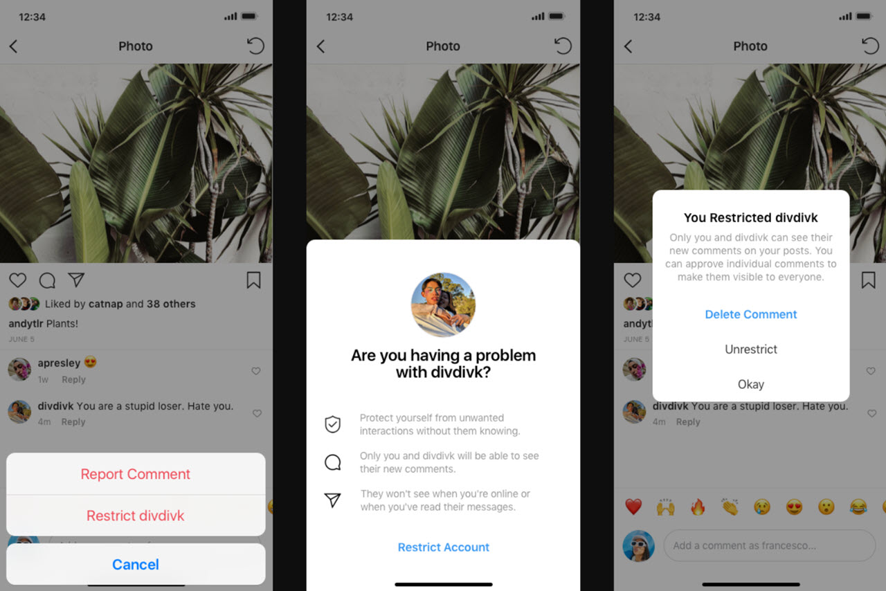 Instagram to warn users about to post an offensive comment; test Restrict