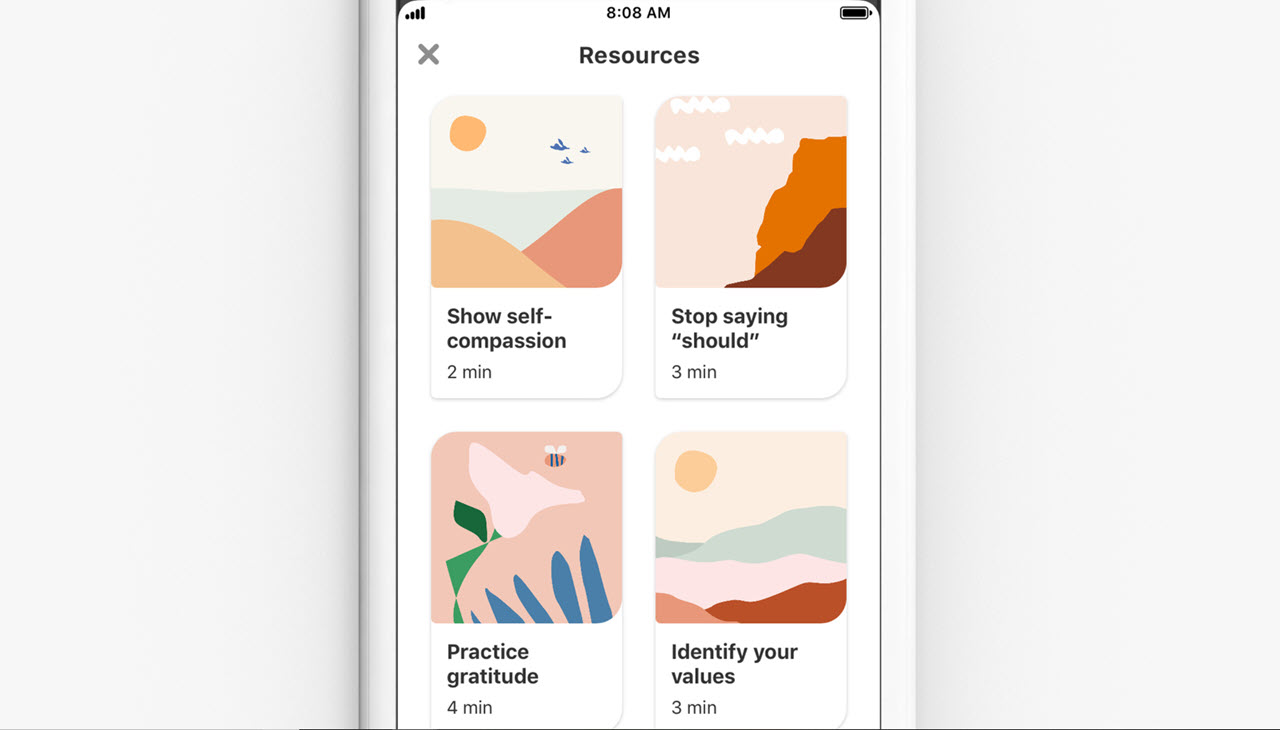 Pinterest's search returns mental health resources for