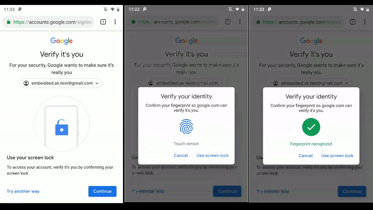 Android users can now login via fingerprint on certain Google services