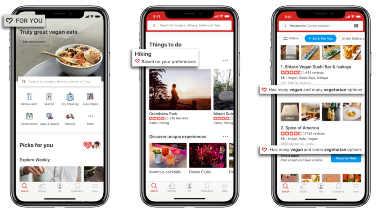 Yelp users can now personalise their search results and homescreen