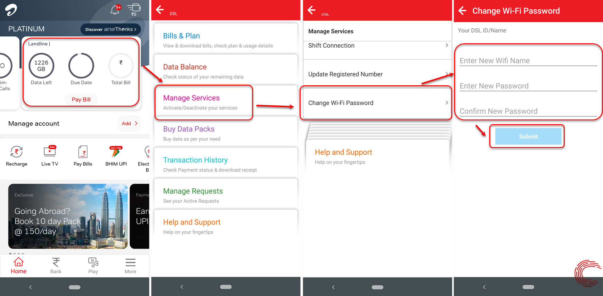 How to change Airtel WiFi password? And find Airtel broadband usage