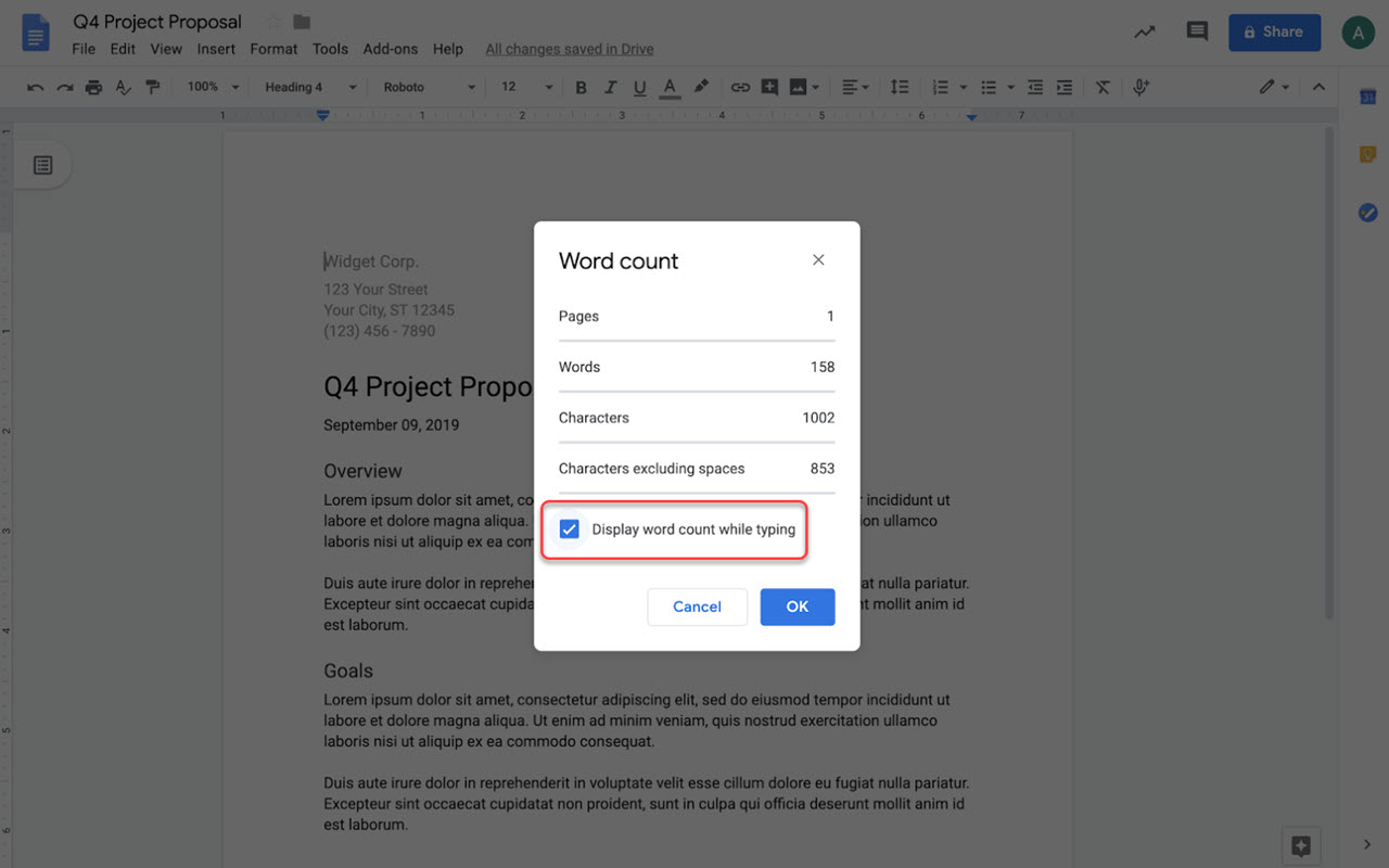 How to see word count in Google Docs while typing?