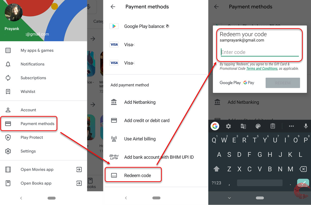 How to redeem code for Google Play store? | Candid.Technology