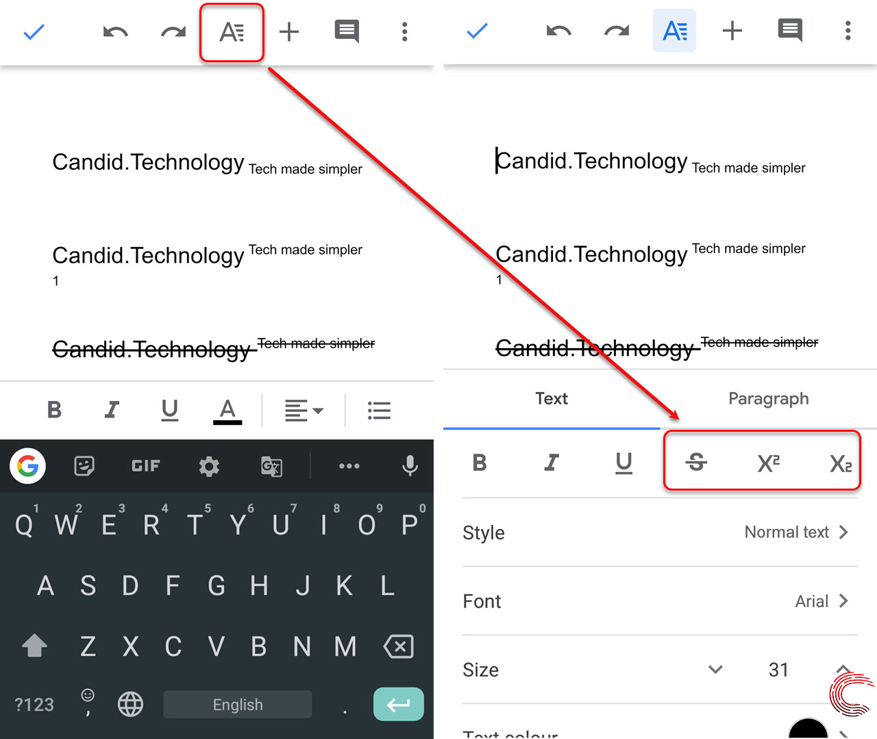 How to Superscript, Subscript and Strikethrough in Google Docs?