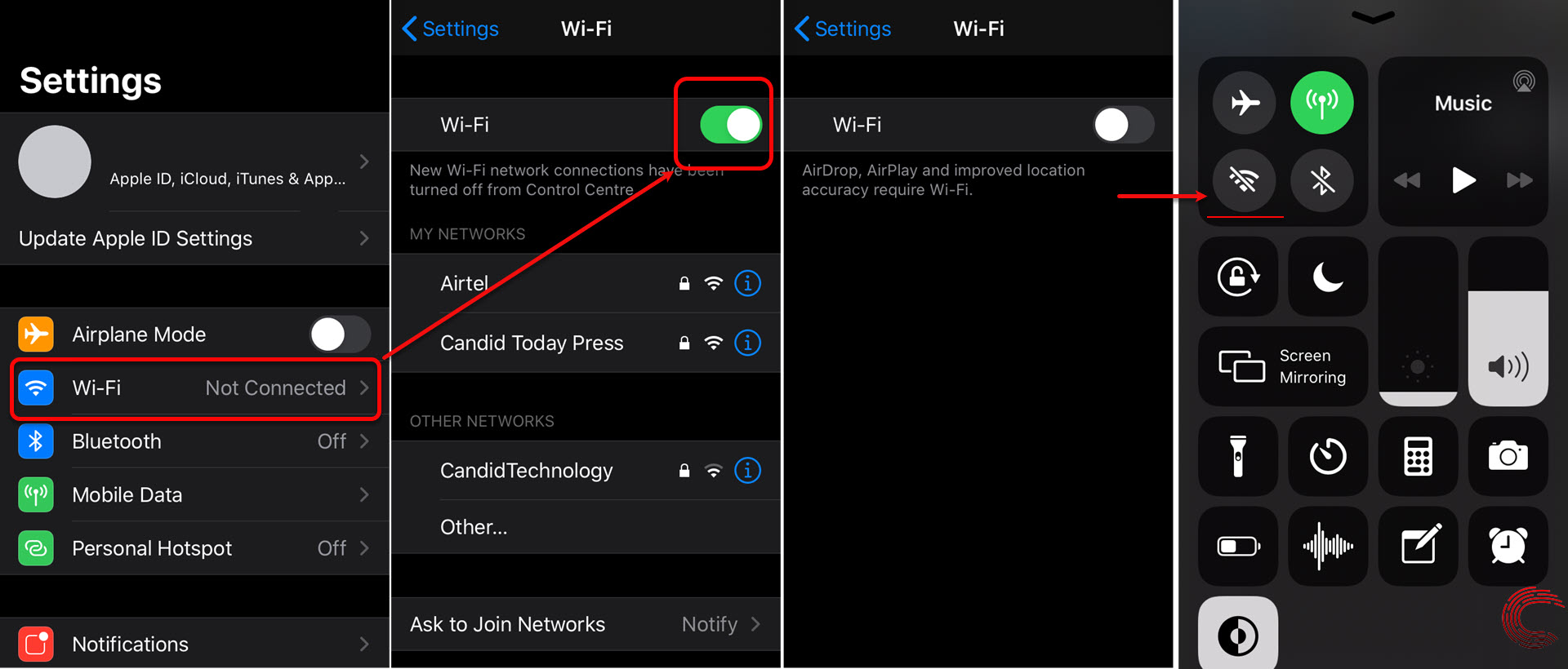 How to turn off WiFi and Bluetooth in iPhone (iOS 13, 12, 11)?