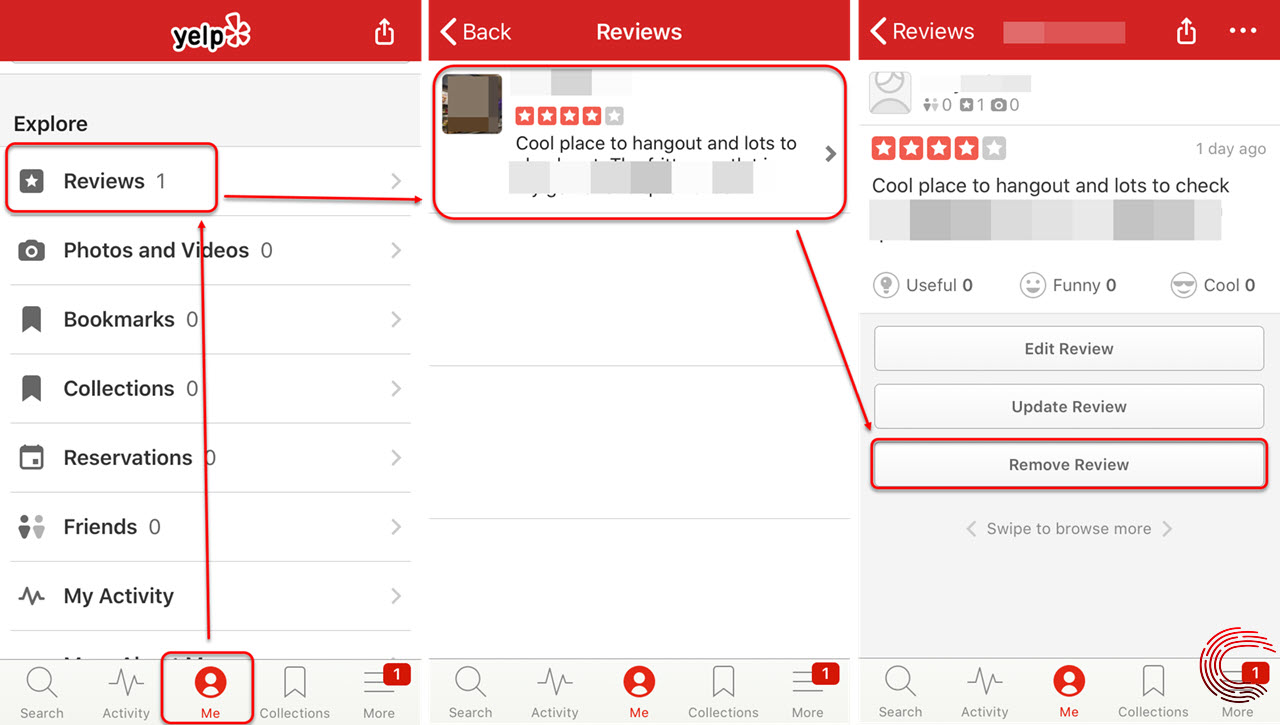 How to delete a Yelp review? Via website and Yelp app