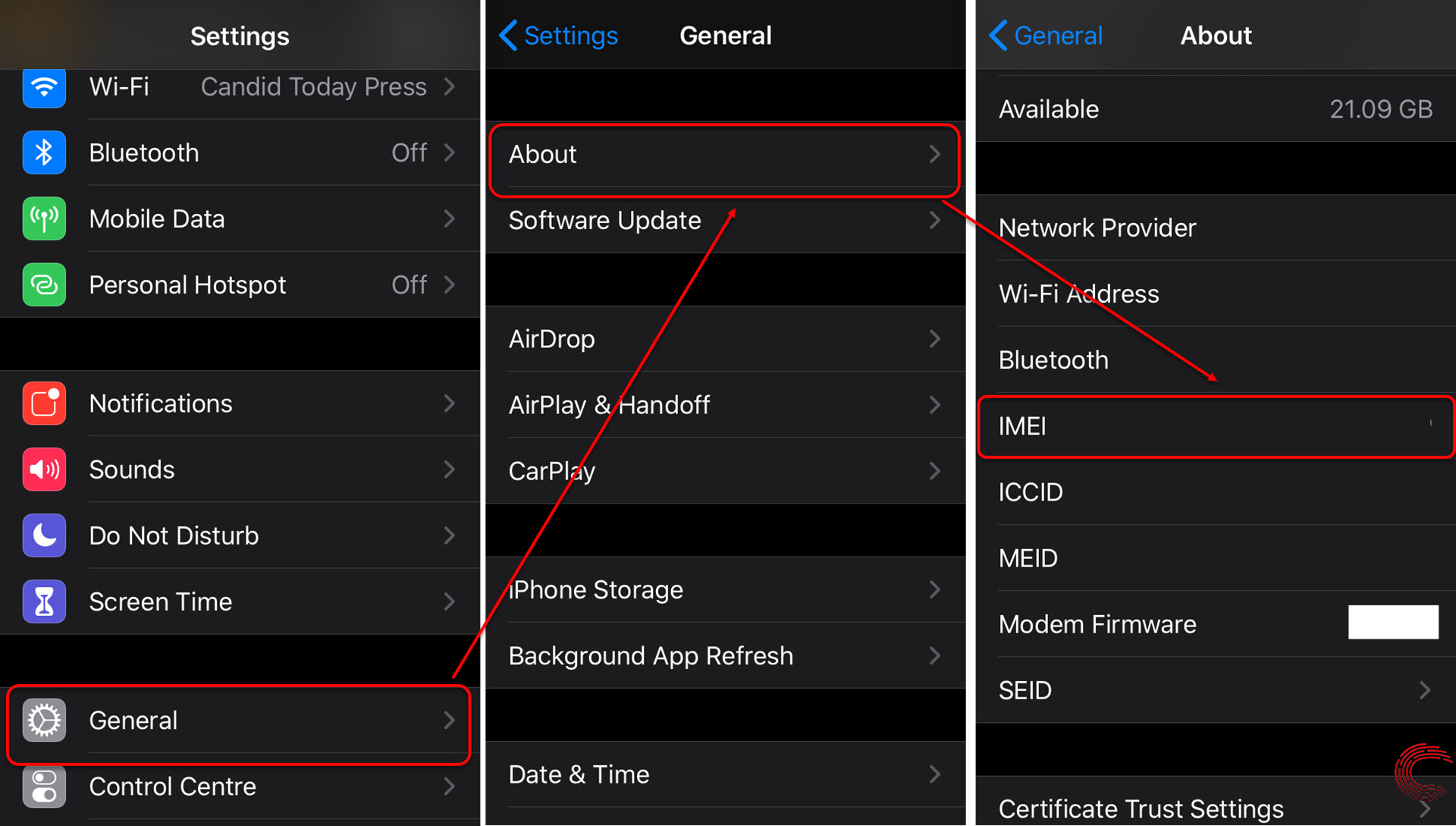 How to find your iPhone's IMEI number via Settings and code?