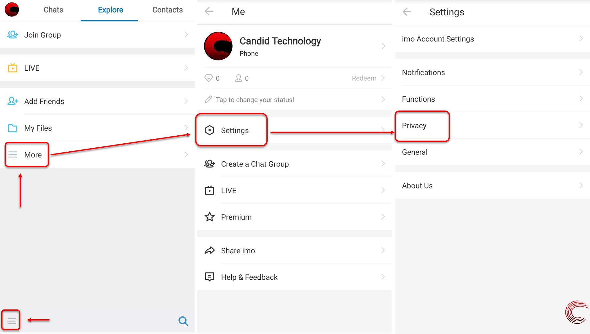 How to hide last seen on IMO? Also how to hide read receipts
