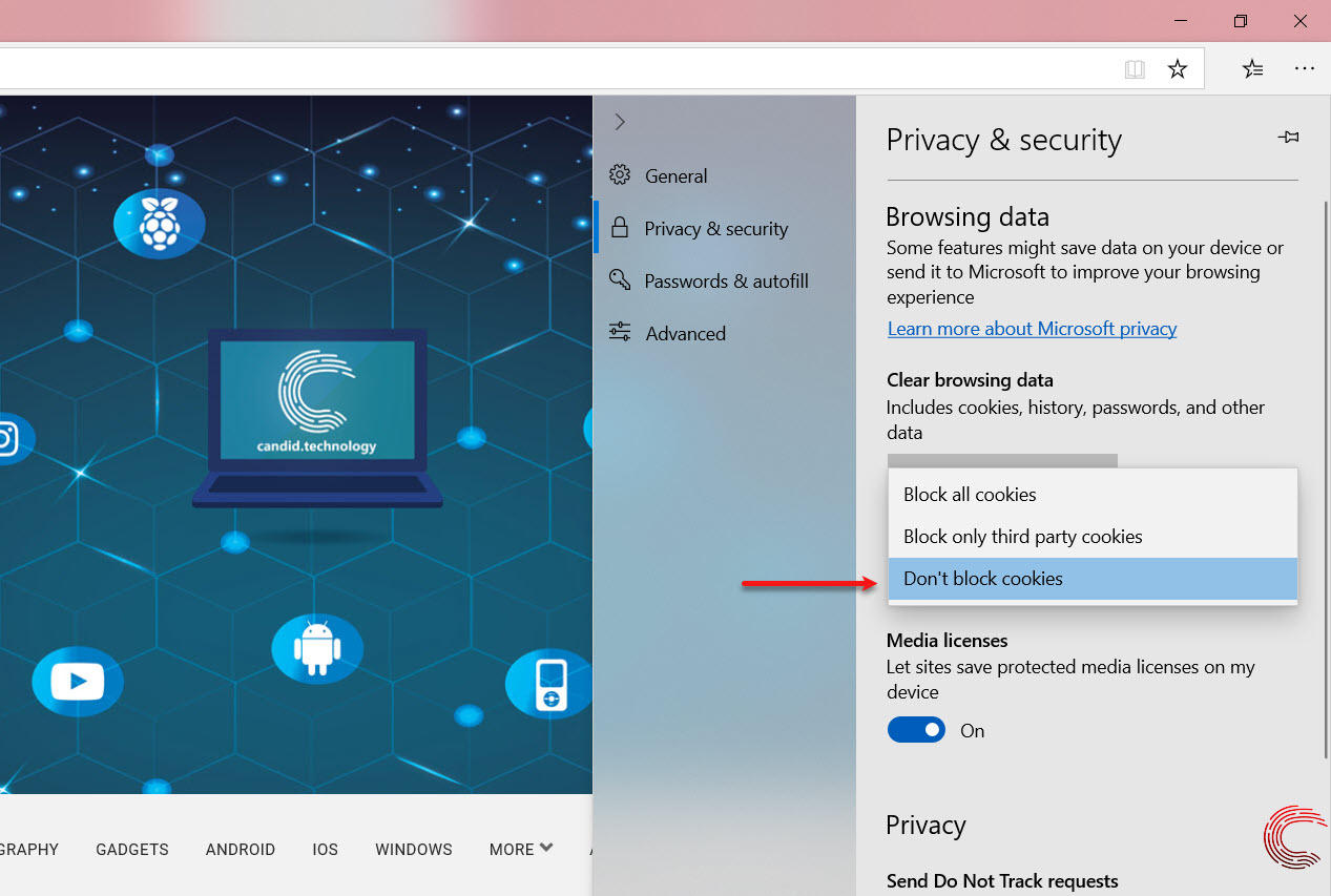 How to disable or enable cookies on Edge? On PC, Android and iOS