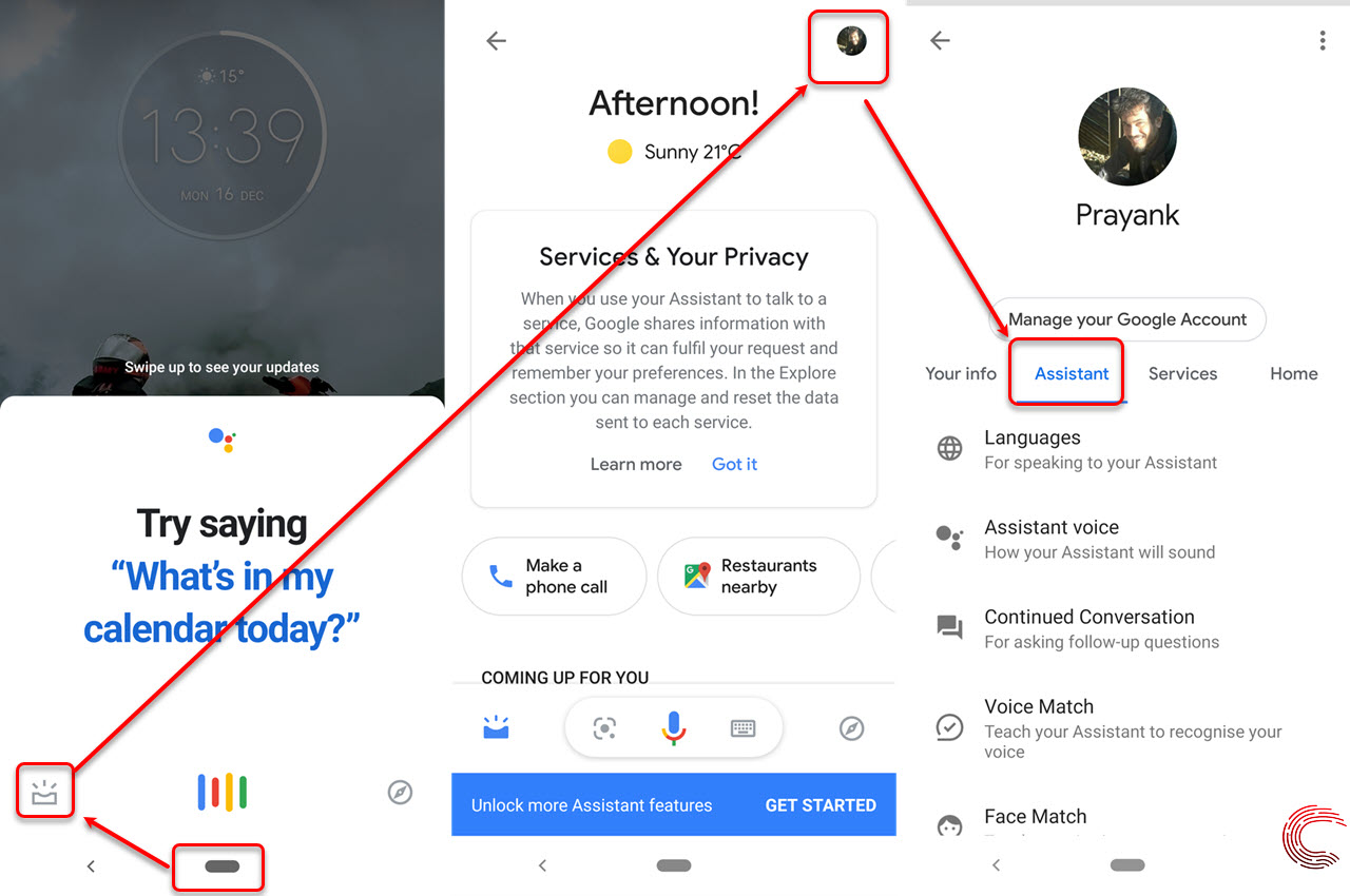 How to open Google Assistant settings in iOS and Android?