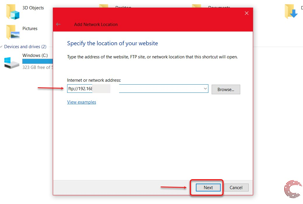 How to create a password protected FTP connection on Windows?