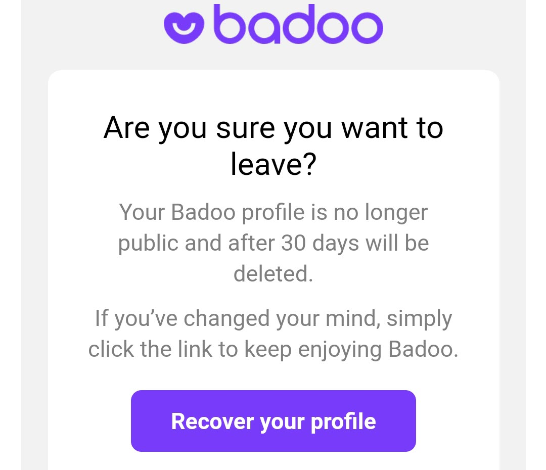 Delete my badoo account now