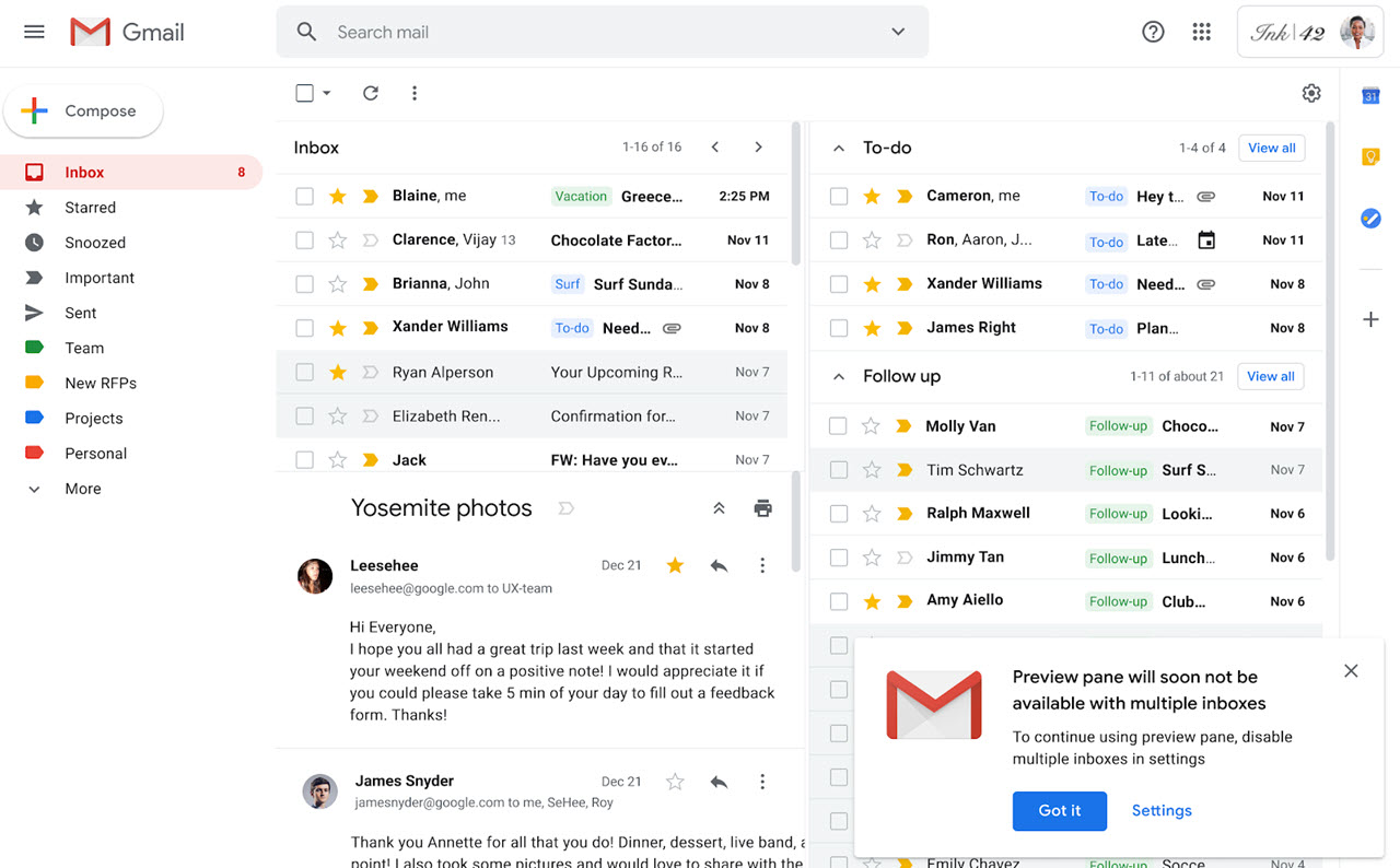 Gmail is discontinuing preview panes in multiple inboxes