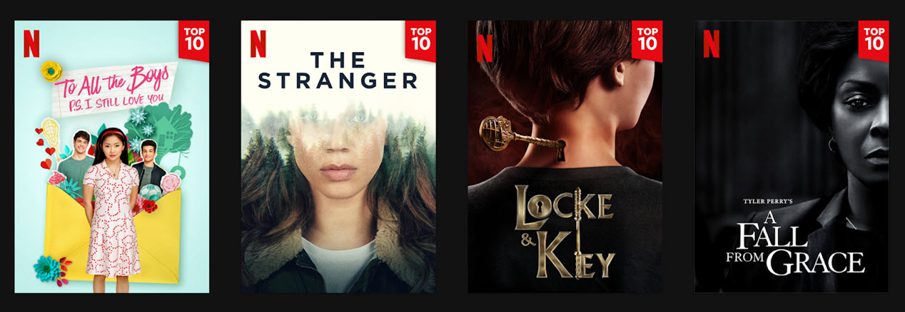 Netflix will now show Top 10 lists for movies and series in-app