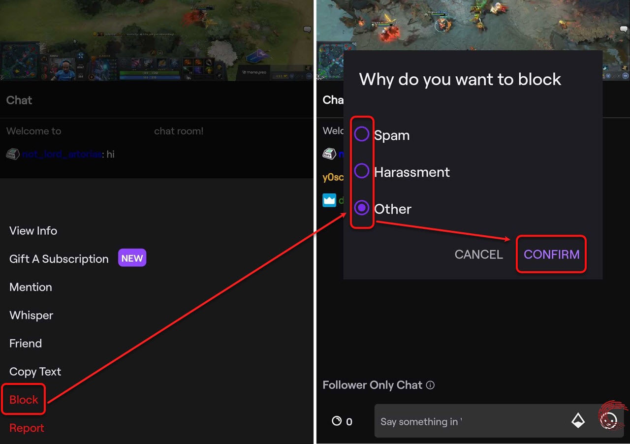How to block someone on Twitch? And how to unblock someone?