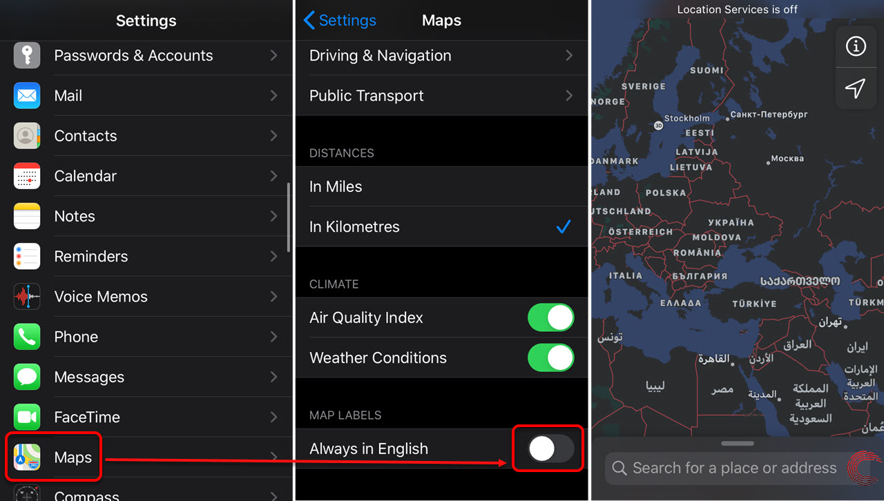 How to change language on Apple Maps in iPhone?