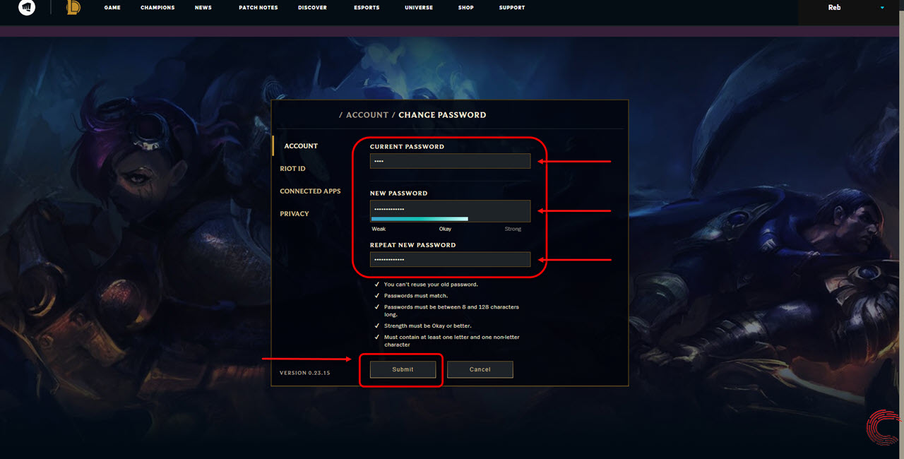 How to change League of Legends password? In five simple steps