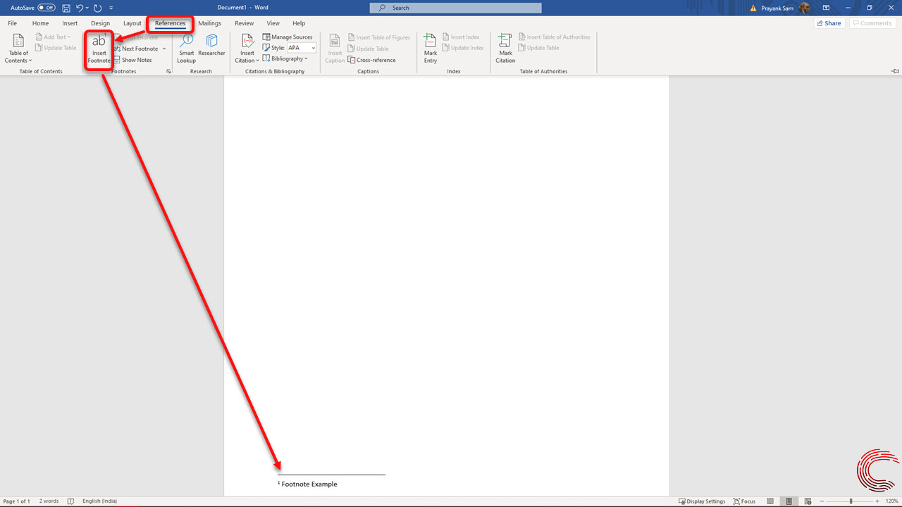 How to insert a footnote in Microsoft Word? | Candid.Technology