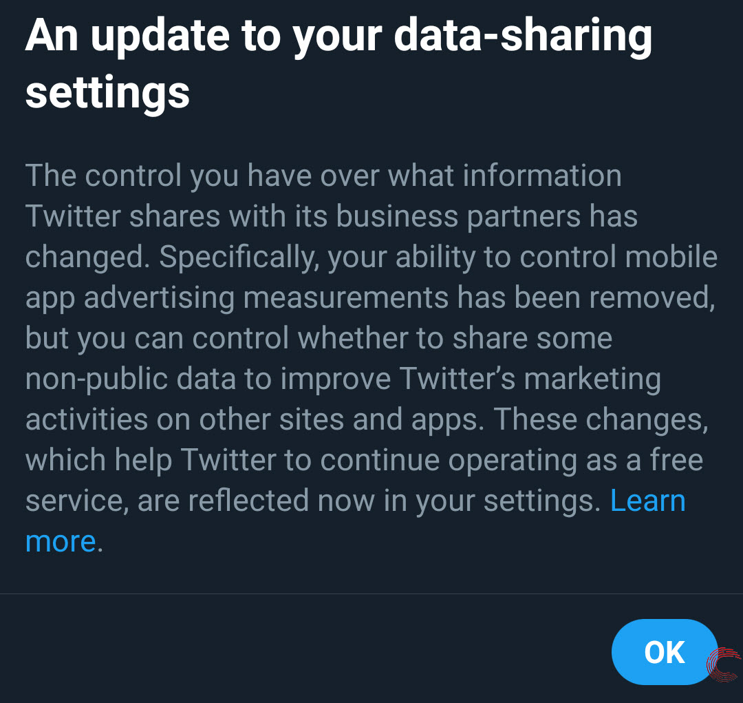 Twitter update reduces user's ability to control how their data is shared