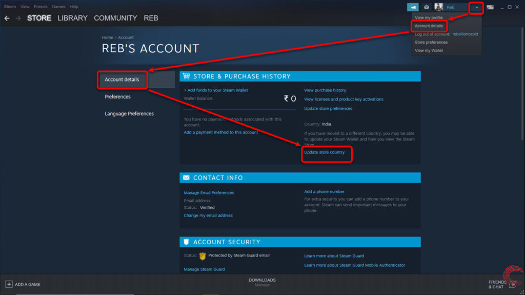 How to change your Steam region and country?