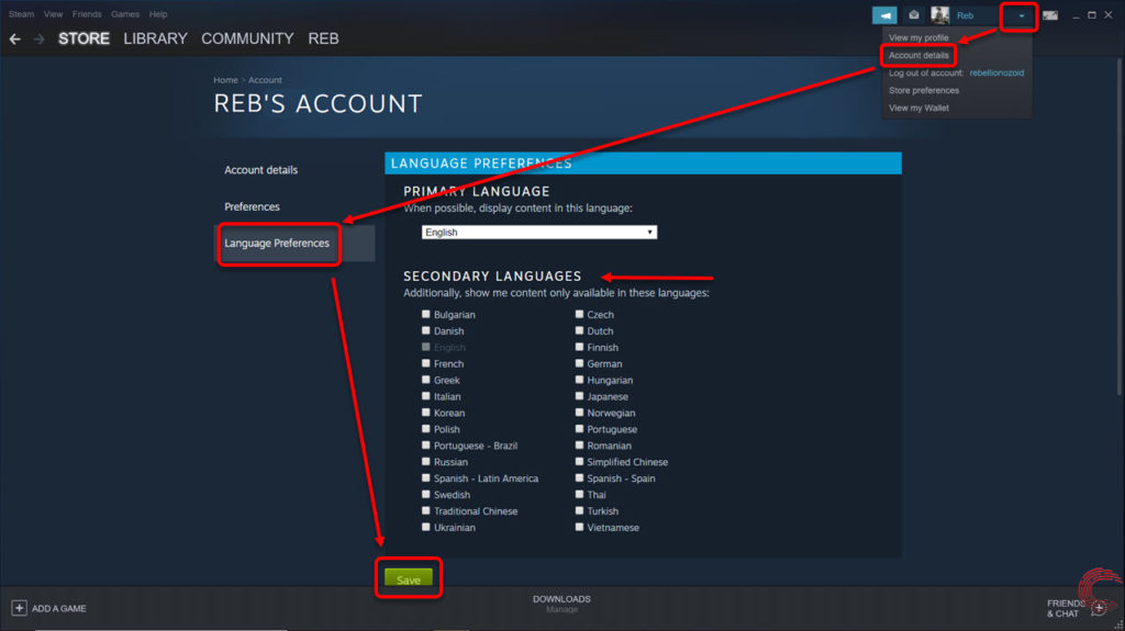 How to change Steam language? And setup a secondary language