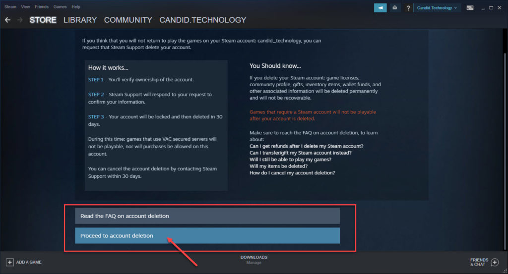 How to delete a Steam account? | Candid.Technology