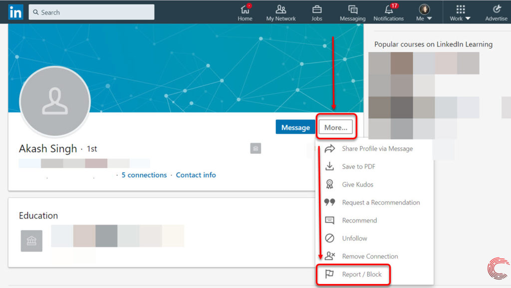 How to block and unblock someone on LinkedIn?