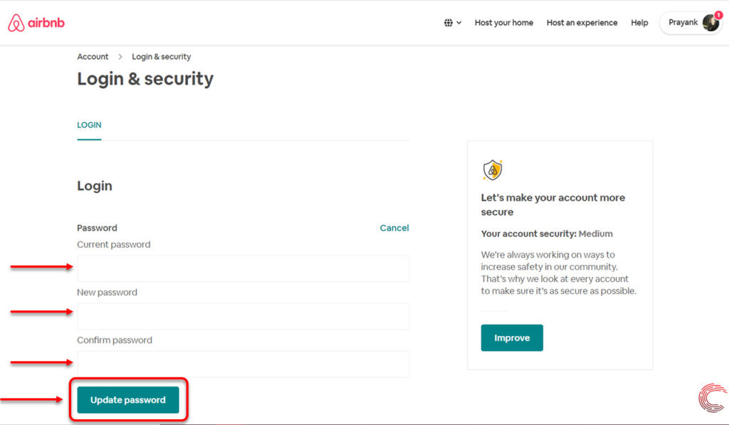 How to change your Airbnb password?   Candid.Technology