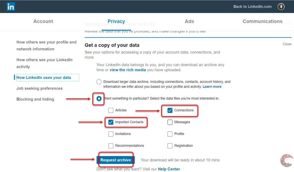 How to download or export contacts from LinkedIn?