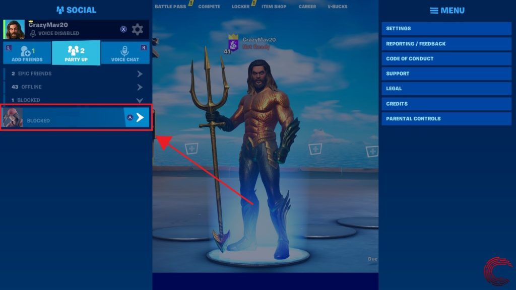 How to block and unblock someone on Fortnite?