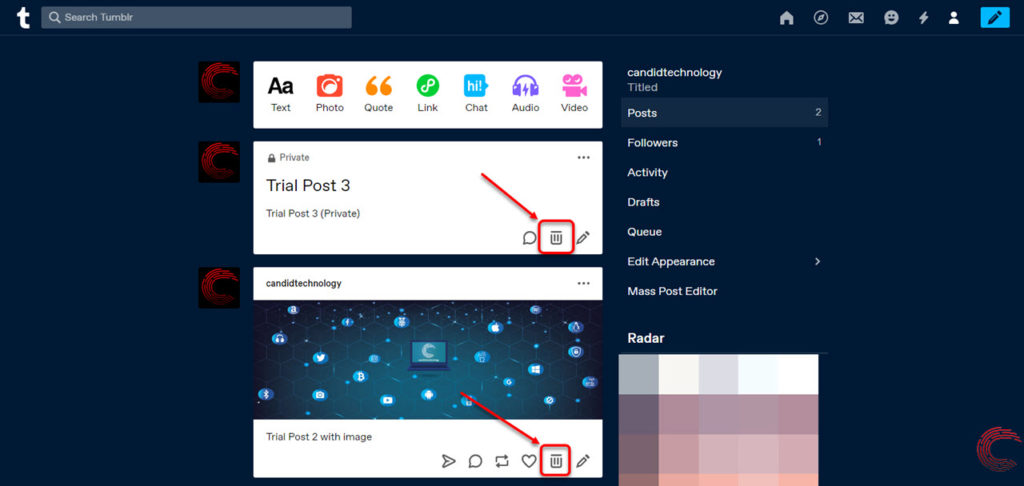 How to delete posts on Tumblr? | Candid.Technology