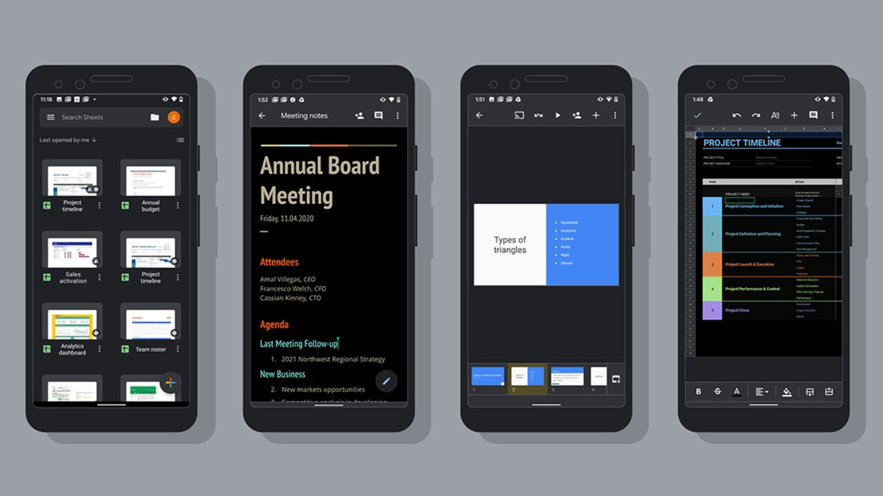 Dark theme comes to Google Docs, Sheets and Slides on Android