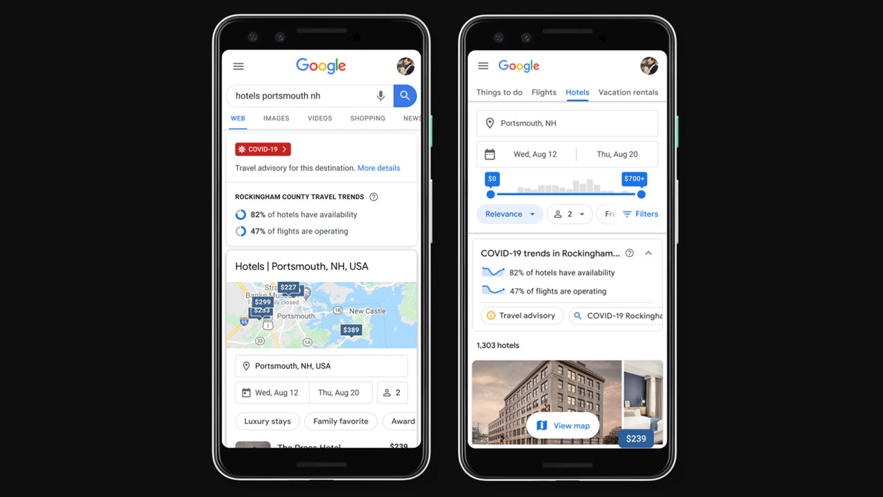 Google update brings COVID-19 travel advisory to Search results