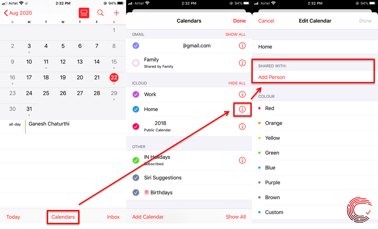 How to share calendar on iPhone? | Candid.Technology