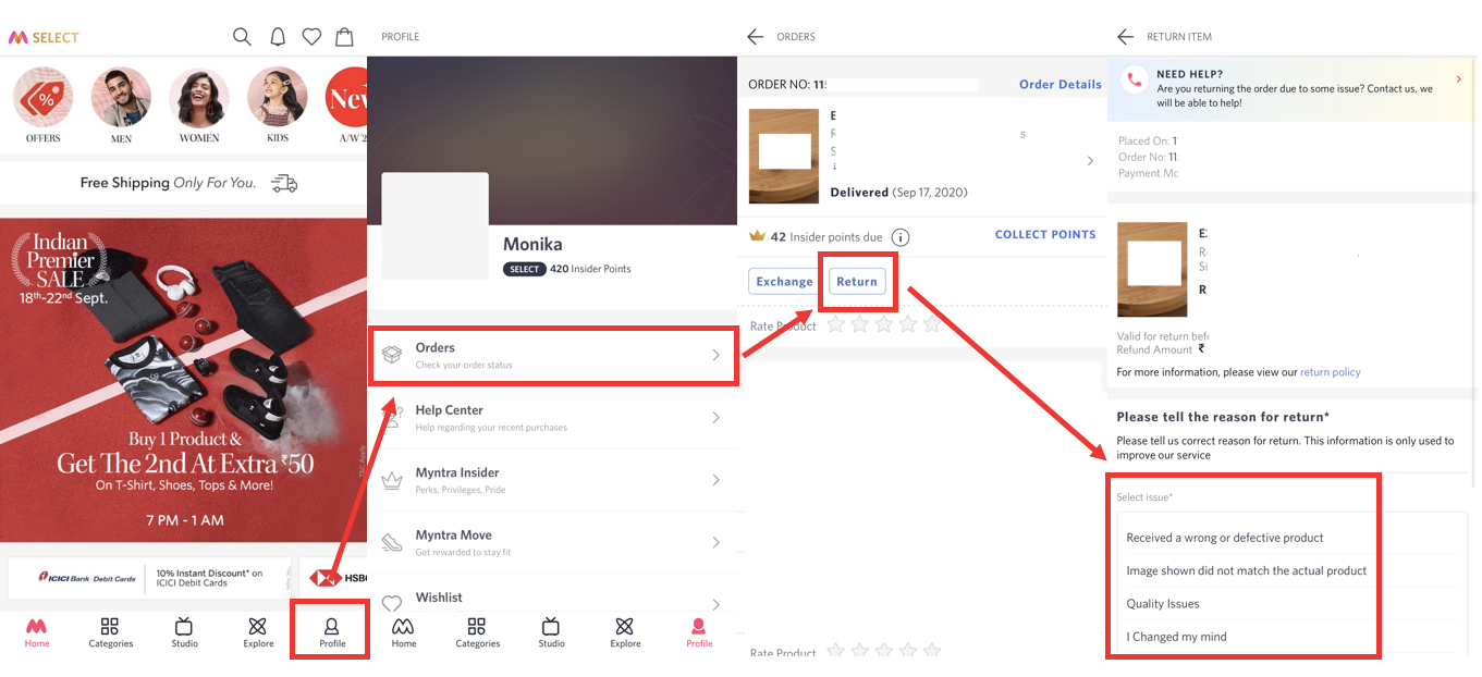How to return a product on Myntra?   Candid.Technology