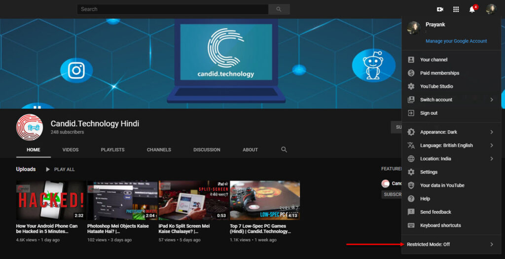 How to disable Restricted mode on YouTube? | Candid.Technology