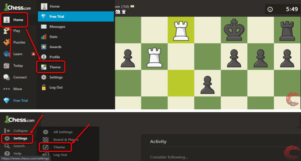 How to choose the default theme on Chess.com? | Candid.Technology