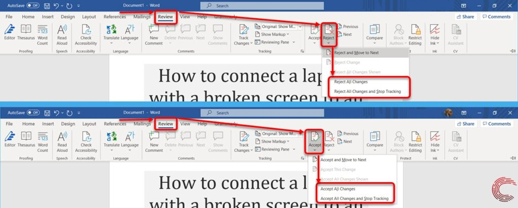 How to remove track changes in Word?   Candid.Technology