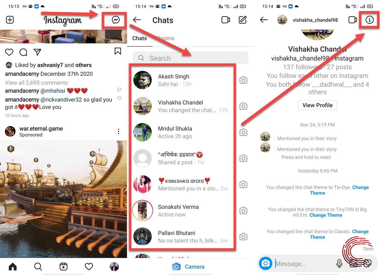 How to change the chat theme on Instagram?