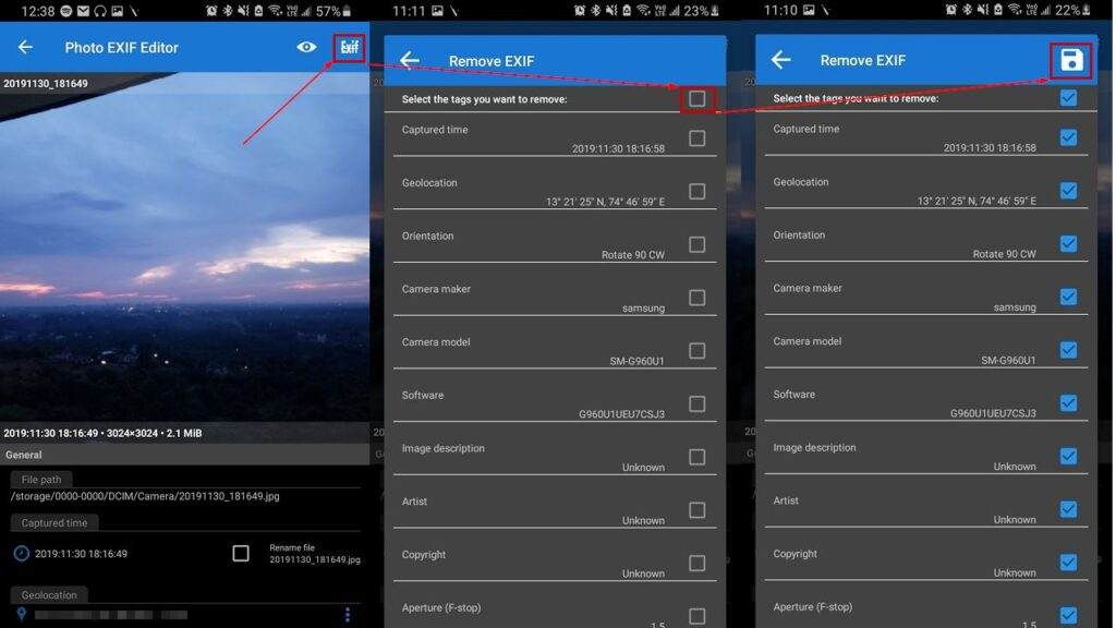 How to delete Metadata from photos on Windows and Android?