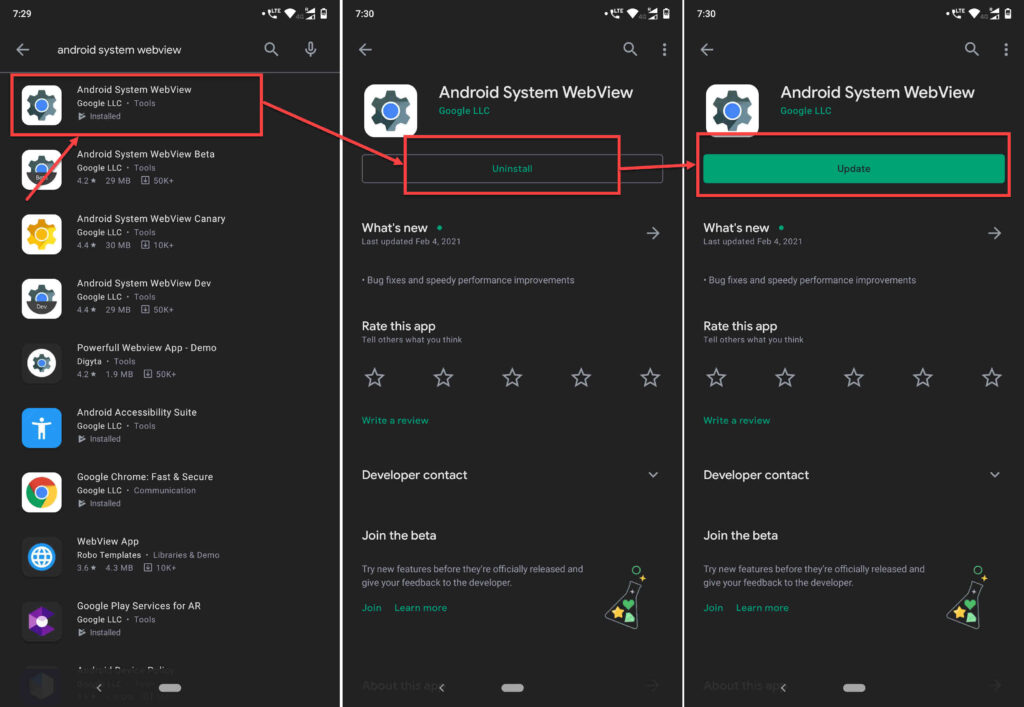 How to fix 'Android System WebView Won't Update' error?