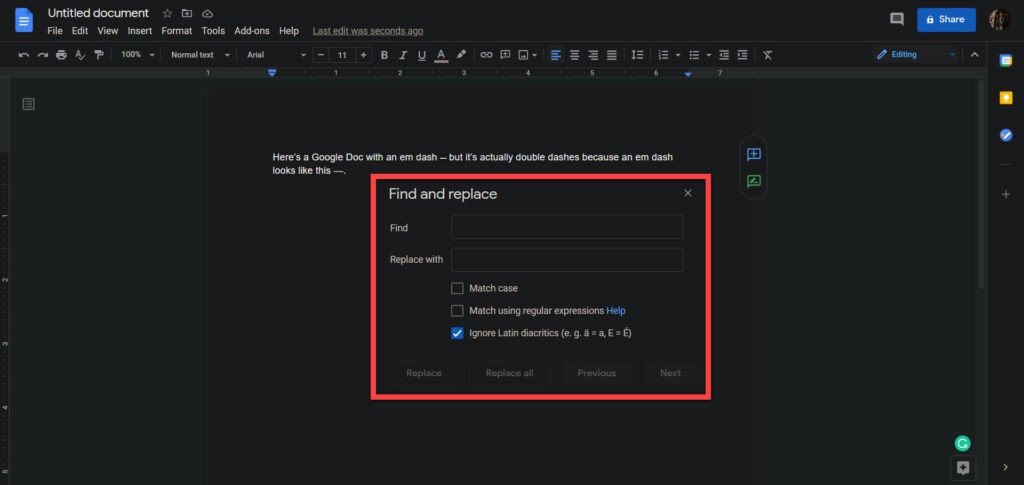 How to insert em dash in Google Docs? | Candid.Technology