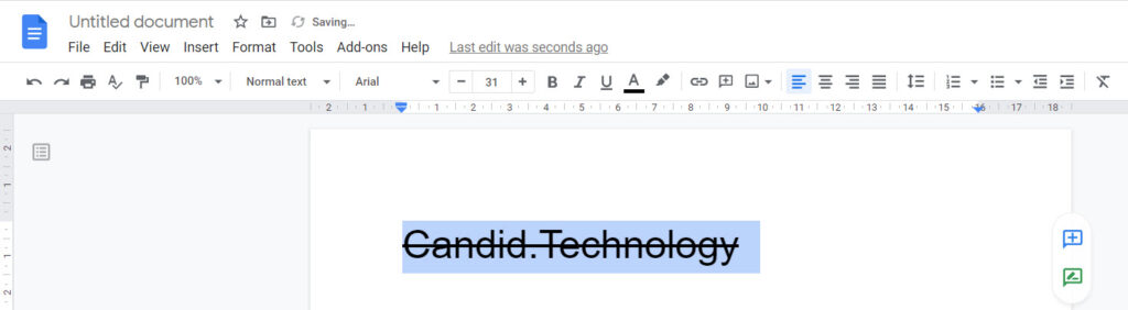 How to add or remove Strikethrough in Google Docs?