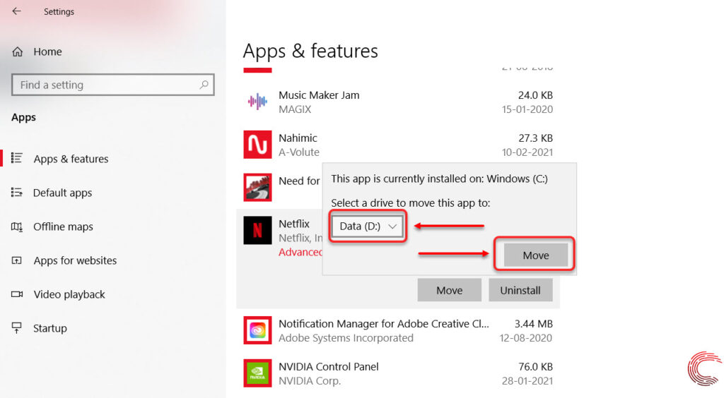 How to view and change Microsoft Store install location in Windows 10?